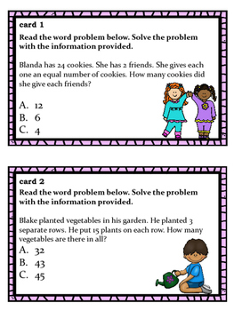 Reading Problems: Multiplication Task Cards