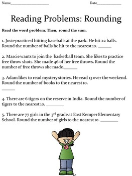 Reading Problems: Rounding for Lower Elementary Students Worksheets