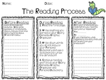 Reading Process and Story Elements Worksheet