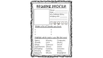 Reading Profile --- get to know what your students love about reading