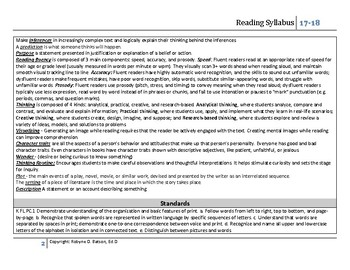 Reading Program Syllabus