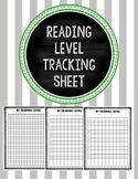 Reading Level Tracking Sheet