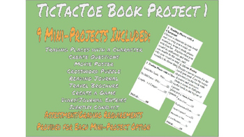 Reading Project Bundle - 4 TicTacToe projects and 1 Novel Project Menu