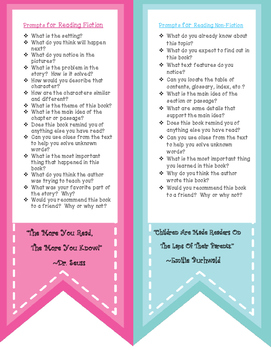 Reading Prompt Bookmark For Parents