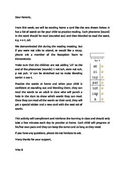 Reading Punch Cards - Letter to Parents