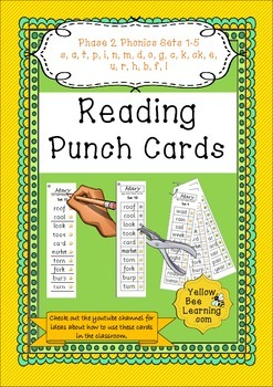 Reading Punch Cards - Phase 2 Words for Blending