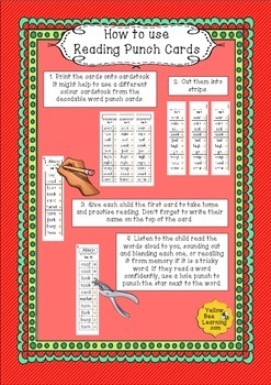 Reading Punch Cards - Tricky and High Frequency Words