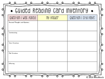Reading Question Cards (Great for Guided Reading Groups)