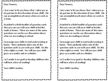 Reading Question Cards for Parents--FREEBIE