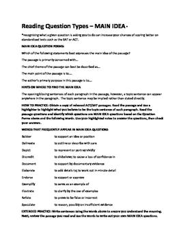 Reading Question Types - Main Idea