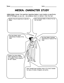Reading Questions and Answer Key for Medea by Euripides