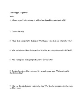 Dr Heidegger S Experiment Worksheets Teaching Resources Tpt