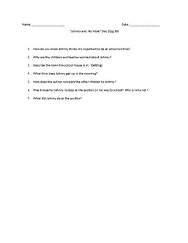 """Reading  Questions for """"Johnny and The Mule"""". I Met You In a Story: Reading 4"""