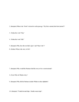 """Reading Questions for """"Puritan Alphabet"""" and """"The Dutiful Child's Promise"""""""