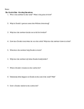 """Reading Questions for """"The Scarlet Ibis"""""""