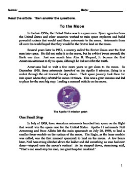 Reading Quiz-  To the Moon