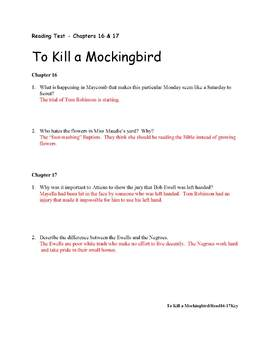 Reading Quizzes and Keys for To Kill a Mockingbird
