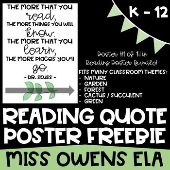 Reading Quote Poster Freebie