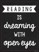 Reading Quote Posters - Black and White Chalkboard