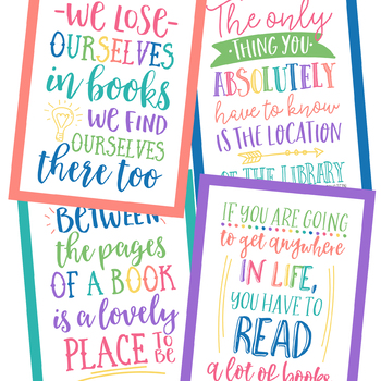 Reading Quotes Posters in Happy Brights