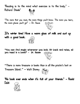 Reading Quotes for Kids with Pictures PDF (Black and White/Printable)