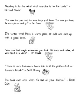 Reading Quotes for Kids with Pictures (Black and White - Editable)