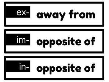 Reading REWARDS Prefix & Suffix DEFINITION cards