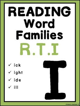 Phonics Word Families reading Intervention: 'i'  Great for RTI and IEP goals