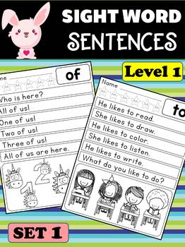 Sight Word Fluency - Reading Sentences SET 1 : Reading Rabbit