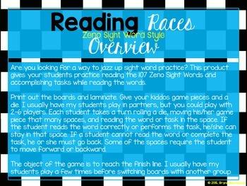 Reading Races-Zeno Sight Word Style