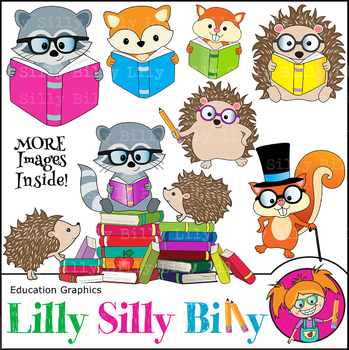 Reading Rascals. Clipart set. {Lilly Silly Billy}