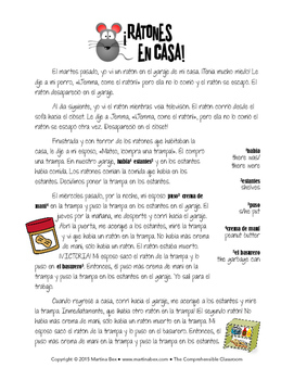 Reading: Ratones en casa story for intermediate Spanish speakers