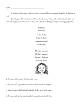 Reading Readiness Poetry Homework