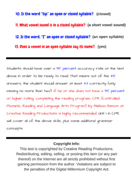 Reading Readiness Test
