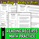 Reading Receipts Shopping Math Practice Pack