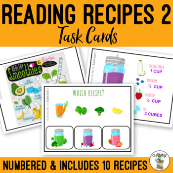 Reading Recipes 2 Differentiated Task Cards - Cooking