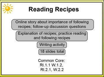 Reading Recipes Christmas Theme 1st-2nd PPT RI.1.1, RI.2.1