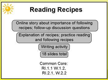 Reading Recipes Christmas Theme 1st-2nd Promethean RI.1.1, RI.2.1, W.1.2, W.2.2
