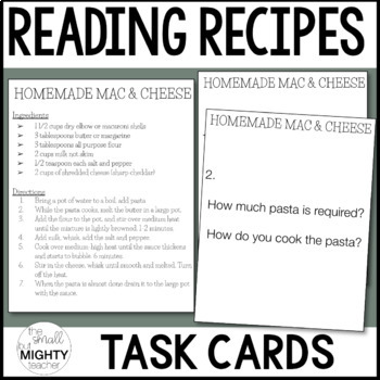 Reading Recipes - Functional Life Skills TASK CARDS