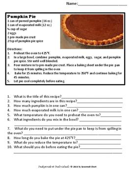 Reading Recipes - Pumpkin Pie **FREE**