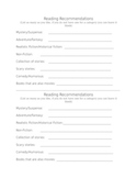 Reading Recommendation Form