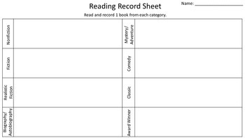 Reading Record Sheet