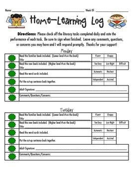 Reading Recovery Home-Learning Log