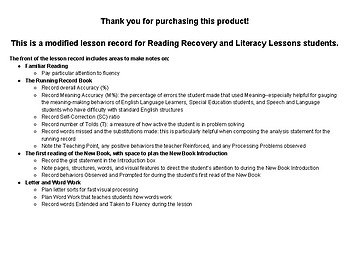Reading Recovery/Literacy Lessons Lesson Record (Modified)
