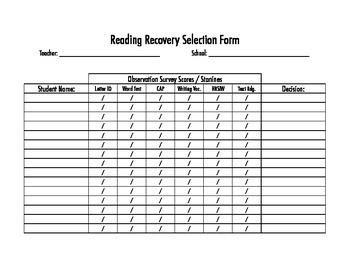 Reading Recovery Student Selection Form