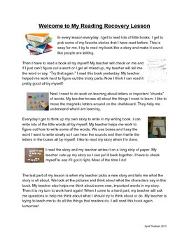 Reading Recovery Welcome Letter