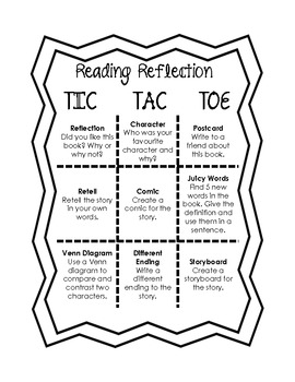 Reading Reflection TIC TAC TOE French and English