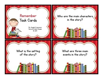 Reading Reflection Task Cards Bloom's Revised Taxonomy {FICTION}