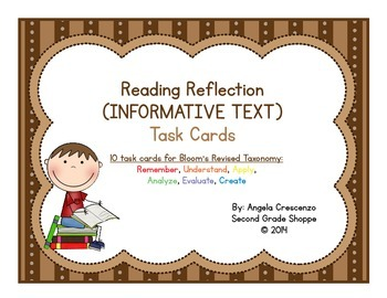 Reading Reflection Task Cards Bloom's Revised Taxonomy {INFORMATIVE TEXT}