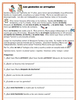 Reading - Reflexive verbs/ Routines